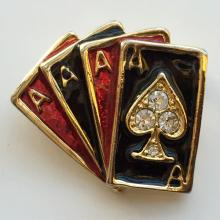 Gold plated FOUR ACE CARDS shape enamel and white rhinestones pin brooch
