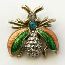 Silver tone Butterfly shape pin brooch with rhinestones and enamel