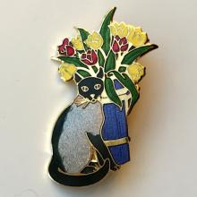 Gold plated CAT WITH TULIPS BUQUET flat shape pin brooch with multi colors enamel, signed W