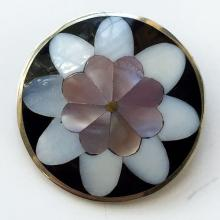 Silver tone black onyx, pink and white mother of pearl petals flower round shape brooch pin, pendant