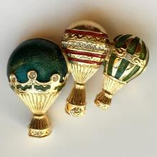 Gold plated THREE BALOONS shape pin brooch with enamel and white rhinestones, signed BOB MACOIL