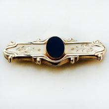 14k gold filled bar shape flowers engraved brooch pin with oval shape black onyx in the center, signed 1/20 14k G.F.