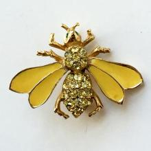 Gold plated Fly shape pin brooch with enamel and rhinestones