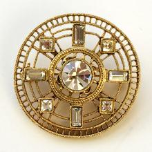 Gold plated round shape pin brooch with round and rectangular shape white rhinestones