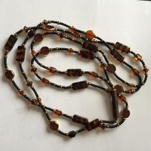 Vintage round and rectangular shape Amber, black and gold color beads necklace, length 56