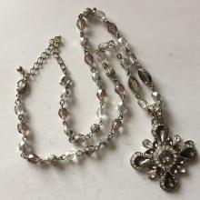 Vintage silver color necklace with faceted rhinestones smoky and white Colors