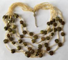 Multi strands necklace with genuine Biwa pearls and small glass beads