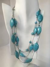 Genuine howlite turquoise color beads with oval silver tone flat rings necklace with lobster claw clasp