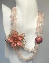 Gold plated lobster clasp and wire on flower genuine rose quartz chips 2 strands necklace with pink color faceted beads on flower