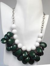White round beads and green checkerboard cut flat briolletes on silver tone chain necklace