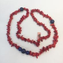 Genuine red coral chips with round lapis beads necklace with no clasp