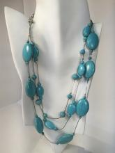 Genuine howlite turquoise color oval flat beads 3 strands necklace with silver tone chain and lobster clasp