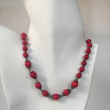 Antique color spacers with small metal and round red coral color beads necklace with silver tone lobster clasp