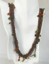 Twisted tiny ropes with dangling beads multi strands soft necklace