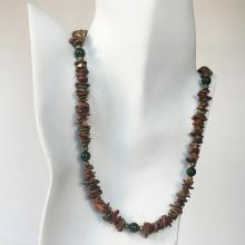 Genuine unikite chips and green agate round beads necklace