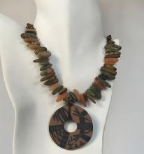 Genuine tiger eye chips, unikite, carnelian and jasper long free shape beads necklace with round flat pendant