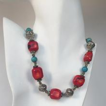 Genuine coral roots red free shape and round turquoise beads necklace with silver tone spacers and filigree round beads