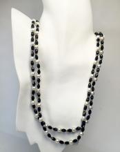 White round faux pearls, oval faceted black onyx color and gold plated beads necklace, no clasp
