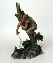 Vintage Native American hunter for rabbit figurine statuette