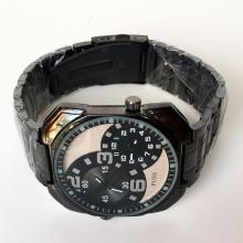 Black color round watch PUSS with matching bracelet, 2 tone dial