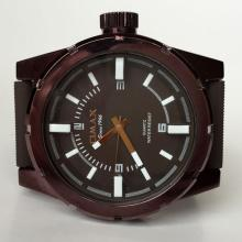Brown color round men's watch OMAX since 1946 Quartz water resist with rubber band and black dial