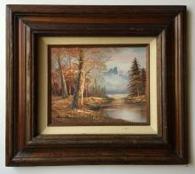 Oil in canvas painting of trees, river, mountain in wood frame