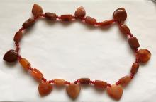 Genuine carnelian carved different shape beads necklace with no clasp