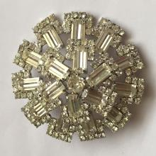 Vintage silver tone prongs set baguette and round shape rhinestones big round brooch pin signed WEISS