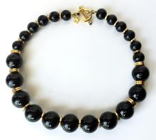 Gold plated toggle clasp and dividers withe round black onyx beads necklace, signed BR