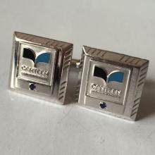 Sterling silver CANTEEN cufflinks with round faceted blue sapphires and enamel