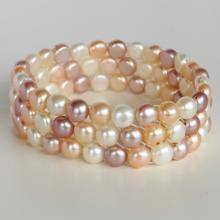 3 lines stretchable button shape flat genuine pastel color pearl bracelet