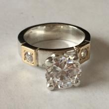 Sterling silver and gold plated Round CZ ring, size 6 1/2