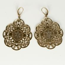 Satin finish gold plated tone Byzantine style Leverback dangling earrings