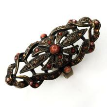 Antique color metal marquise shape ring with coral color rhinestones