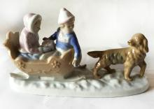 Vintage Meico porcelan figurine TWO CHILDREN IN A SLEIGH BEING PULLED BY DOG