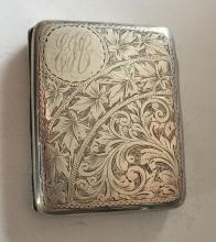 Antique sterling silver cigarette case with engraved foliate decorations and plain round space on top corner for personal engraving EJC