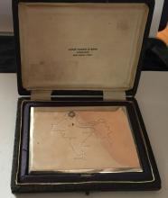 Vintage sterling silver cigarette case made in India, Delhi in original box, made 1947 - 1964. Inside box hallmarks- JAGAT NARAIN & SONS JEWELLERS NEW DELHI, INDIA