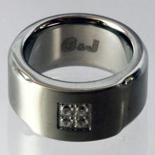 Stainless steel and round faceted 4 white CZ band style ring, size 5.75