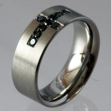 Stainless steel black diamond band style ring, size 9
