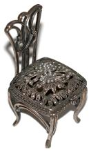 Sterling silver marcasite and pearl chair box - trinket