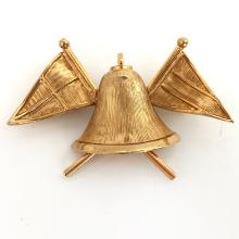 Gold plated satin finish BELL AND 2 FLAGS shape pin brooch, signed ART