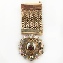 Vintage gold plated dangling pin brooch in shape of MEDAL with prongs set rhinestones, flat mesh and enamel