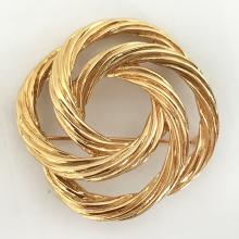 Gold plated textured KNOT shape pin brooch