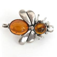 Vintage Sterling Silver Amber BEE WASP INSECT pin brooch