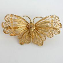 Vintage Gold plated Sterling Silver filigree handmade BUTTERFLY pin brooch