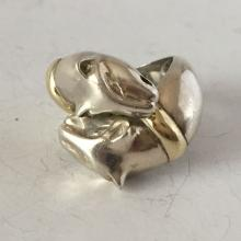 Vintage sterling silver and 14k gold 2 panther heads ring, size 3 1/2