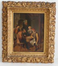 Vintage FIVE MAN PLAYING DICE GAMBLERS IN TAVERN oil painting on wood with gold color frame.