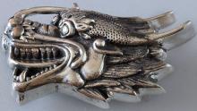 Dragon Head shape Sterling Silver 925 buckle for belt 1 inch wide