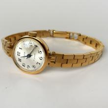 Vintage gold plated ladies round SLAVA watch with original bracelet made in USSR