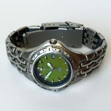 Stainless steel round ladies FOSSIL Blue Date watch with bracelet